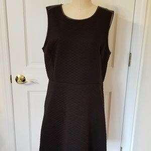 LOFT Black Quilted Sleeveless Dress